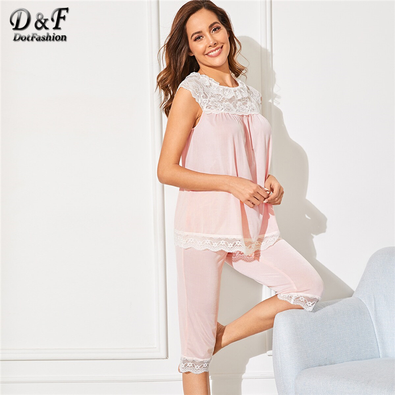 Dotfashion Pink Lace Trim Sleeveless Top With Knee Length Shorts   Set   2019 Summer   Pajamas   For Women Casual Sleepwear   Pajama     Sets