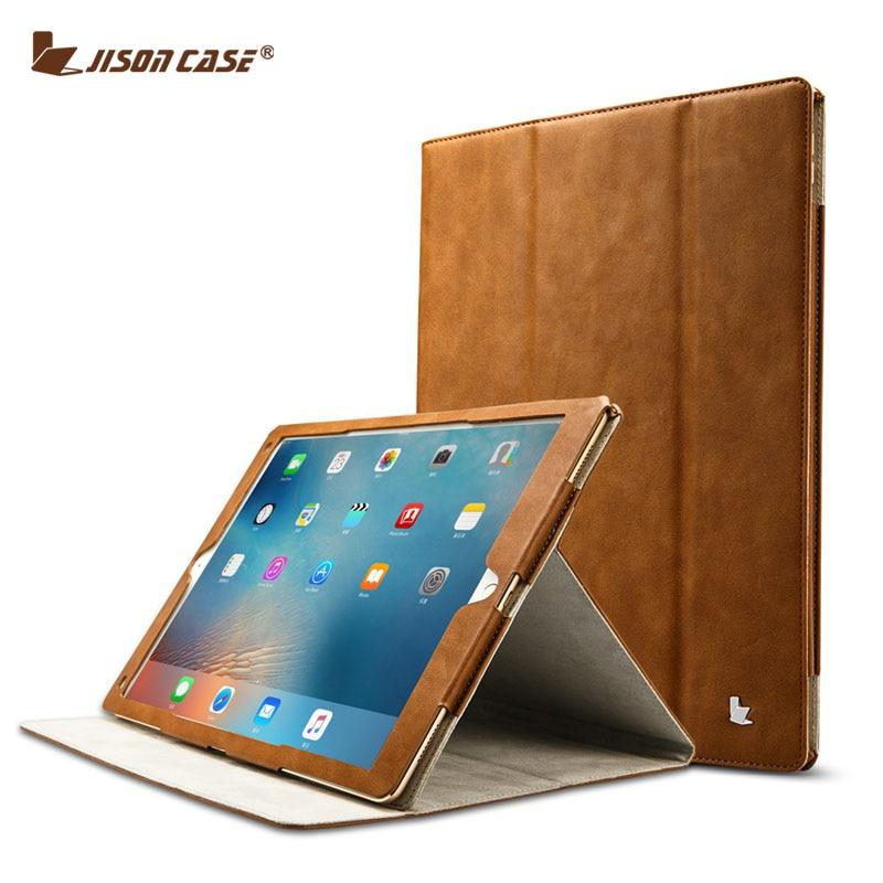 Prix pour Jisoncase pour ipad pro 12.9 case pu en cuir de luxe tablet couverture pour ipad pro mode casual affaires pliant folio fonction