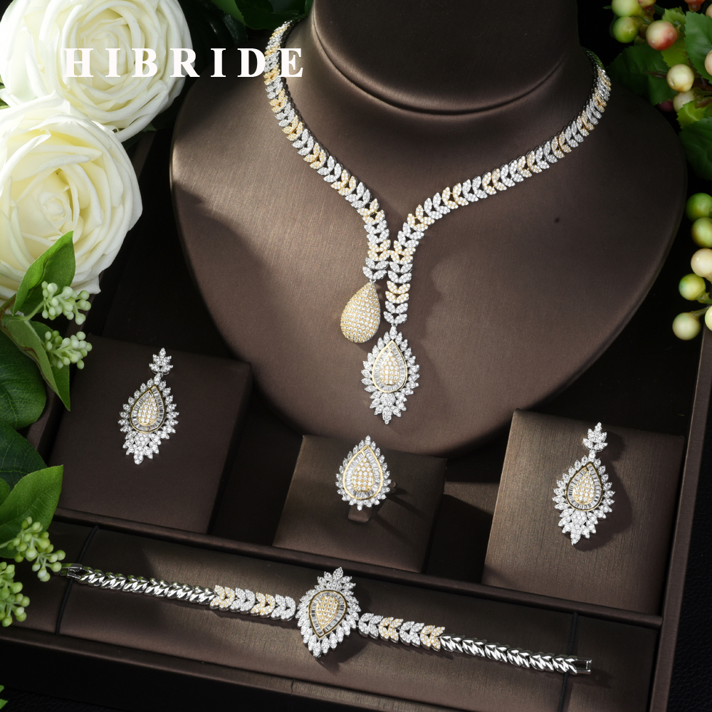 HIBRIDE Luxury Real Micro Pave Setting AAA Cubic Zirconia Geometric Design 4pcs Dubai Jewelry Set for Dinner Party Bijoux N-975HIBRIDE Luxury Real Micro Pave Setting AAA Cubic Zirconia Geometric Design 4pcs Dubai Jewelry Set for Dinner Party Bijoux N-975
