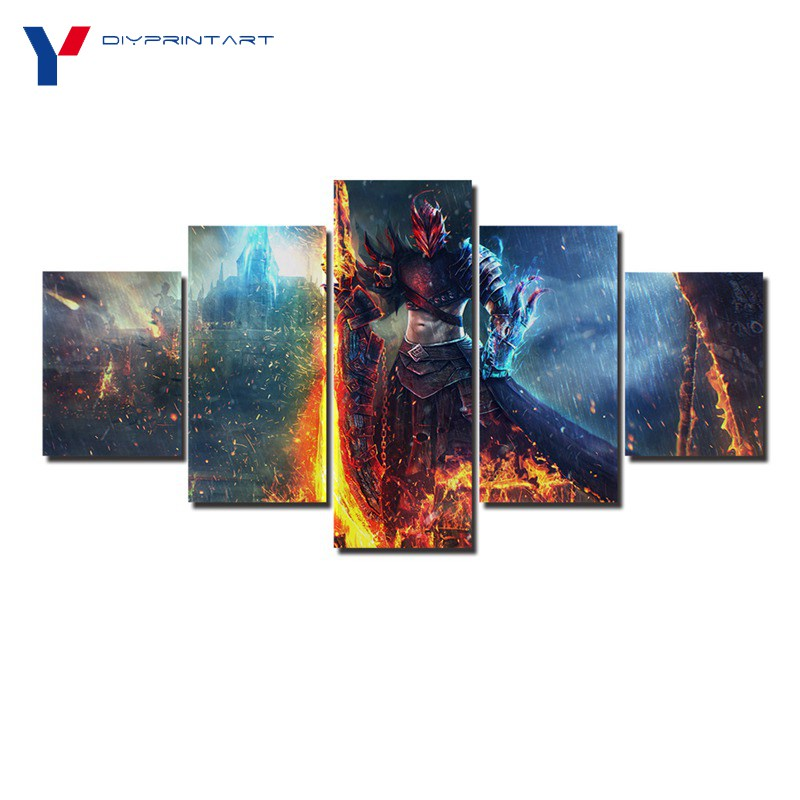 Rain Sword Warrior 5 Panels Wall Art Canvas Painting Game Guild Wars 2 House Decoration Living Room Decoration A0863