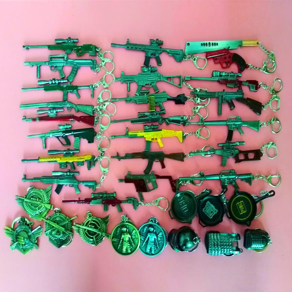 50 Pcs 12 Cm PUBG CS Game Key Chains 98K,UMP9,M4,AWM Sword Keychains Gun Model Keyring Weapons Keychain Pendant Gifts