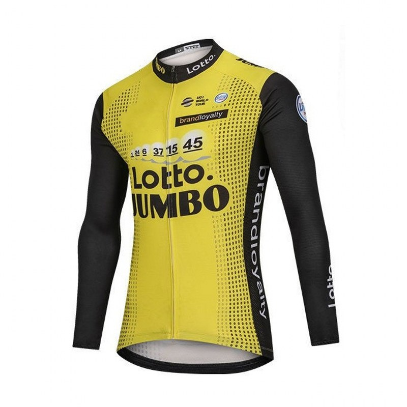 цена winter fleece 2018 pro team yellow lotto jumbo cycling jersey warmer bike cloth jacket MTB Ropa Ciclismo Bicycle maillot ony онлайн в 2017 году