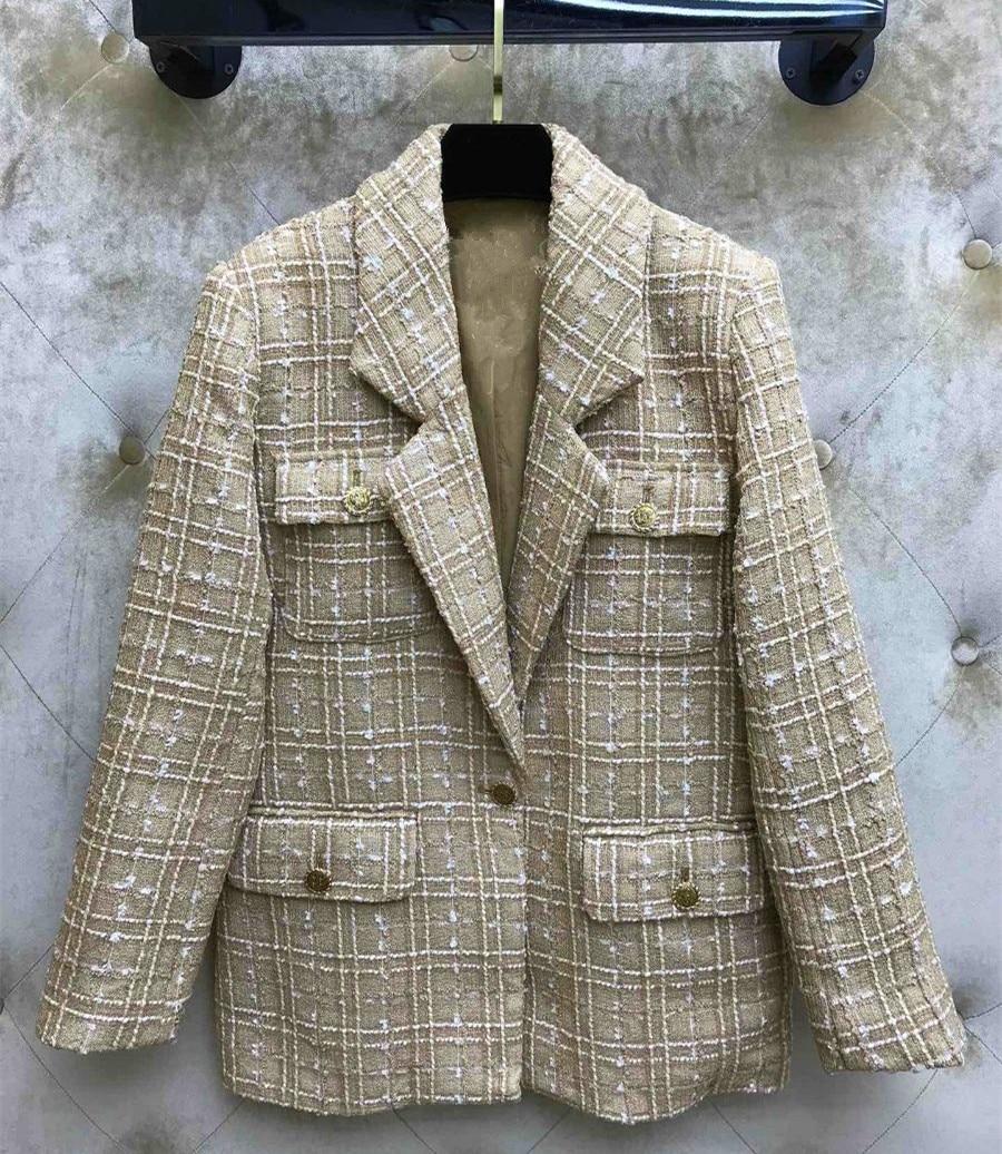 Hot Fashion Tweed Jackets Coat 2019 Spring Autumn Casual Loose Plaid Blazers Coat A363
