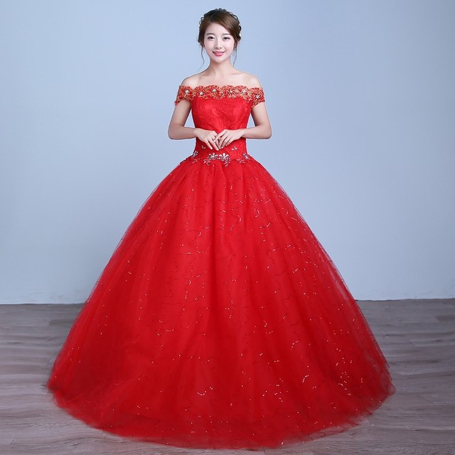 332bf42f01e8 White Red Grils Dress New Arrive Wedding Dresses Ball Gown Off Shoulder  Boat Neck Crystal Lace Red White Ivory vestido de noiva