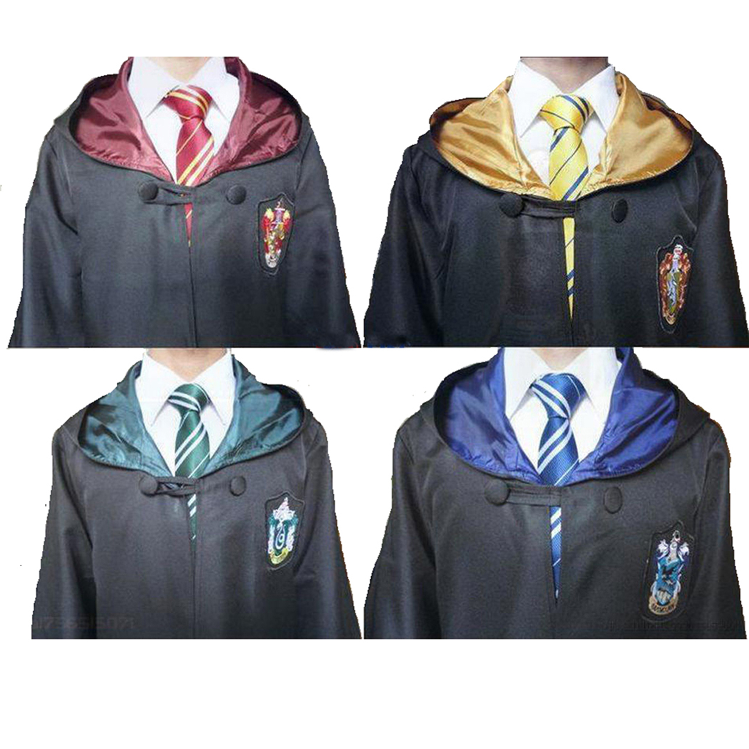 Cosplay Costume Potter Robe Cloak with Tie Scarf Ravenclaw Gryffindor Hufflepuff Slytherin Potter Costume