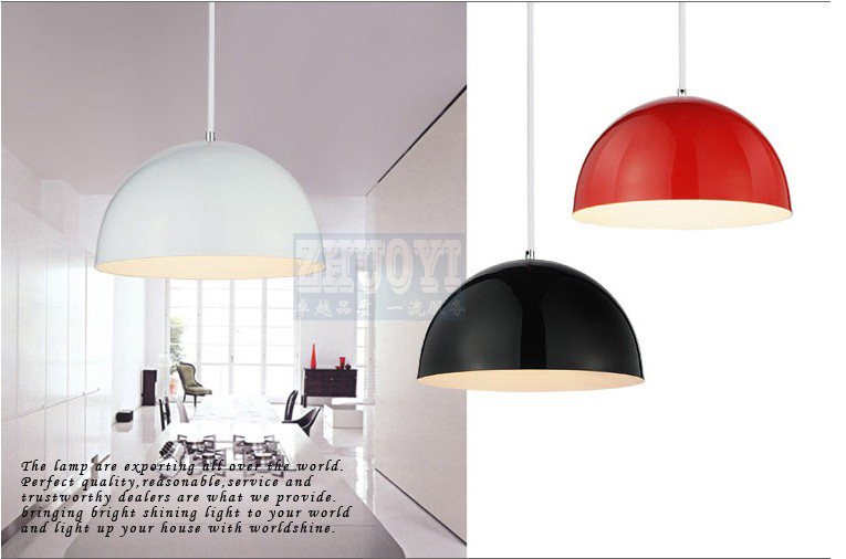 Free shipping 36 cm Modern aluminum hemisphere pendant lights brief black white red dinning lighting pendant light free shipping 30cm modern aluminum hemisphere pendant lights brief black white red dinning lighting pendant light