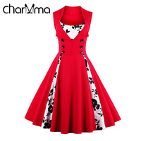 CharMma Retro Vintage Red Dress Women Summer Dress Plus Size 2017 Vestidos Mujer Sleeveless Button Midi