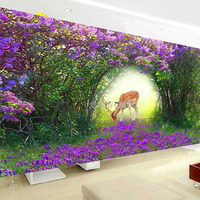 Customized Living Room Diamond Painting Full Square Fantasy Purple Arched Flowers Sika Deer Diamond Embroidery Mosaic