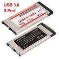 ¡ PROMOCIÓN! 2 Puertos USB 3.0 Hub Adaptador de Tarjeta Express Cardbus para el Ordenador Portátil