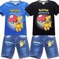 2016 crianças calções conjuntos menino da criança do bebê todos os pokemon ir pikachu roupas menina infantil para crianças agasalho roupas traje