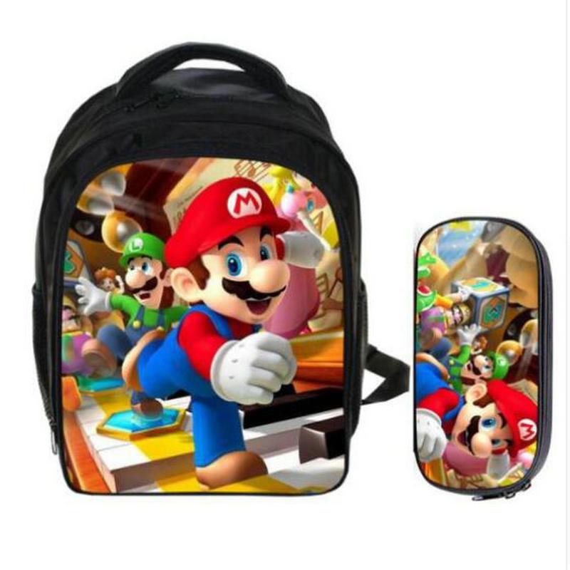 Fashion Cartoon Children Super Mario Bros Sonic Backpack Kids School Bags Ladybug Kindergarten Child Pencil Bag Sets 13 Inch Bag