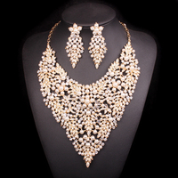 Luxury Imitation Pearl Bead Gold Color Jewelry Sets Gifts for Women Wedding Party Costume Jewellery Bridal Necklace Earring Sets