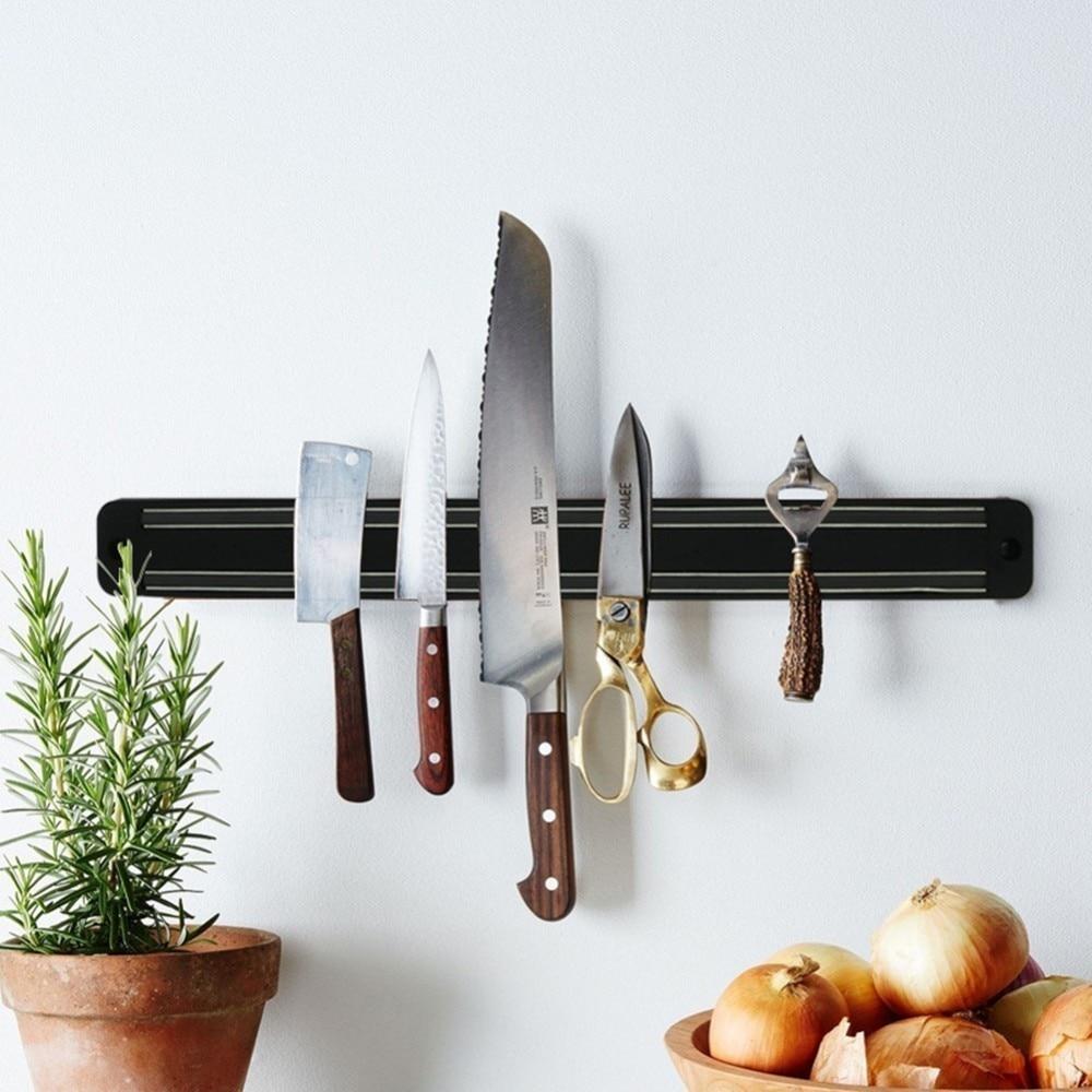 20/33/38/48cm Magnetic Knife Stand Wall Mount Black ABS Placstic Block Magnet Knife Holder Messenblok Porta Rollo Cocina