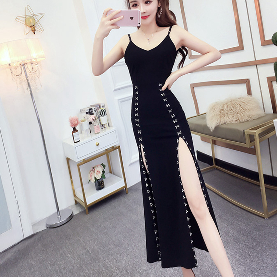 Office Lady Sexy Club Spaghetti Straps Bodycon Red Evening Party Dress Women Sheath Backless Black Package Hips Split Maxi Dress