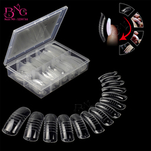 BNG 140Pcs Quick Building Mold Form Nail Tips Dual False Nails Reusable Clear Manicure Tool Extension Poly Nails Gel Art Forms