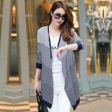 2016 Autumn Ladies Loose Stripe Knitted Cardigans Coat Korean Wild Pocket Poncho Women Long Cardigan Sweater Gray Knitwear