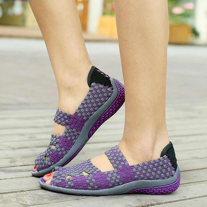 Mujeres Moda Antideslizante Alta De Tela Adultos Calidad 2019 Verano Las Para Mujer Planas Stretch Zapatos Casual En Sandalias 7Yyf6bg