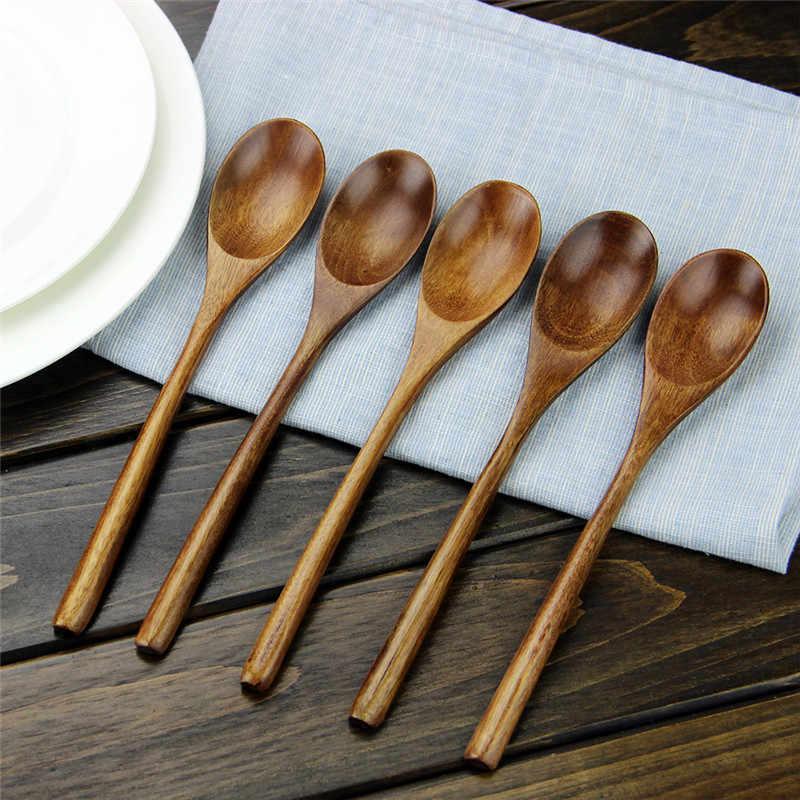 ложки деревянные 5 шт настольная ложка экологичная японская эллипс деревянный карри суп дети большой длинный совок ложка салат буфет ужин