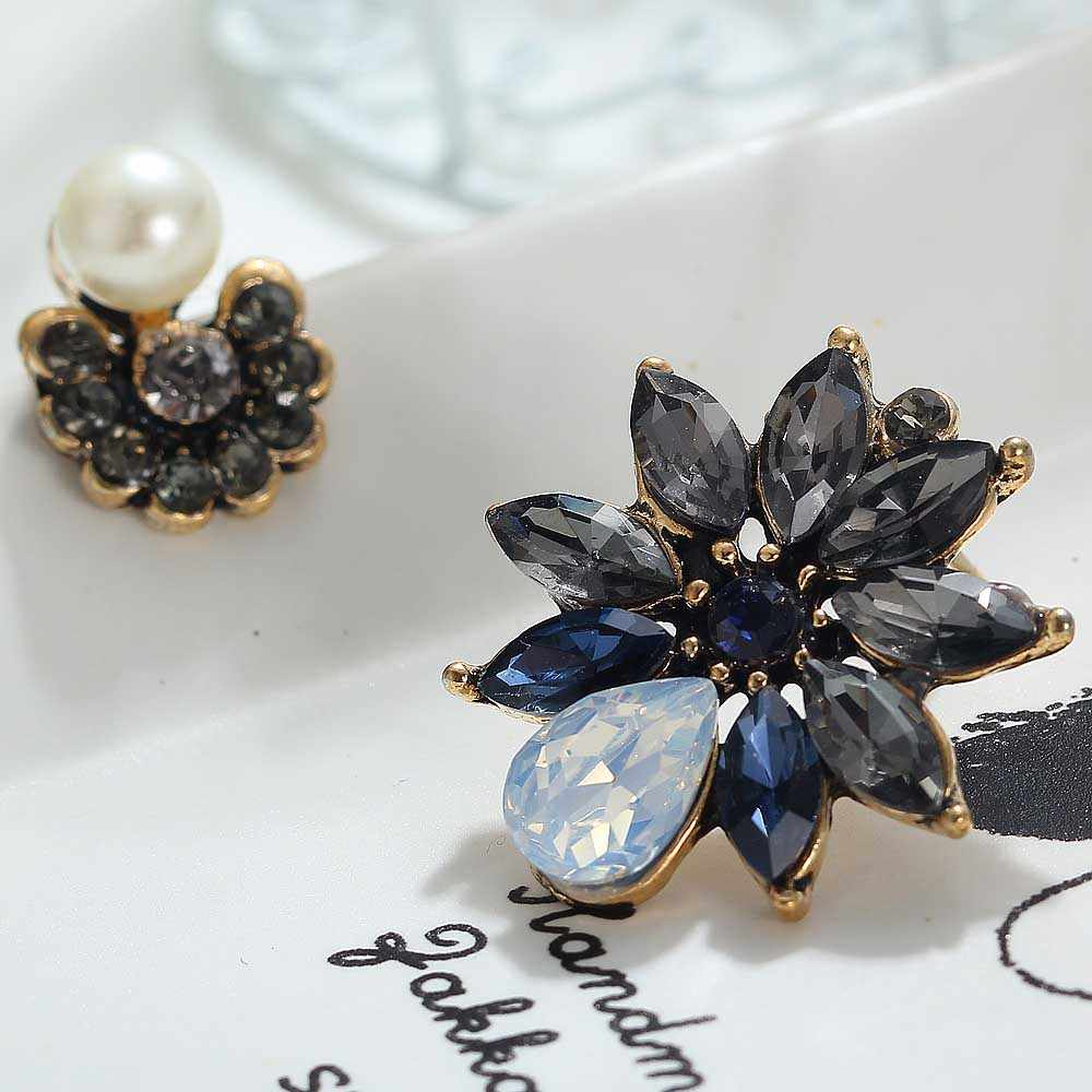 YaYi Gray Blue Glass Blue Rhinestone Dangle Pearl Earring Women's Fashion Ancient Gold Gem Earrings For Women E1111