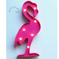 Cute 3D Flamingo Pineapple Cactus Night Light Plastic LED Lamp Lights Kids Room Bedroom Bedside Lamp