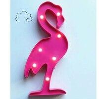 Cute 3D Flamingo Pineapple Cactus Night Light Plastic LED Lamp Lights Kids Room Bedroom Bedside Lamp
