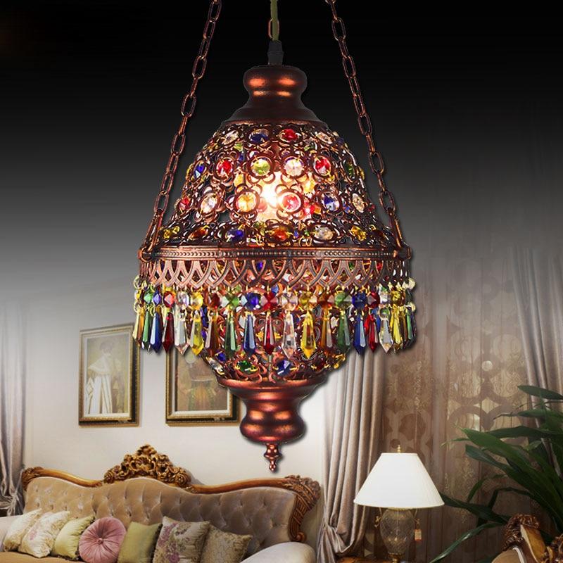 Shop3022001 Store Bohemia Mediterranean Amorous Feeling Dining-Room Lamp E14 Base Porch Desk Lamp Through-Carved 7 Colour Crystal Pendant Light