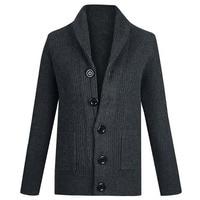 Autumn Winter Thick Warm Men Sweater Loose Cashmere OUTWEAR Cardigan Male Clothes Collar Coarse Wool Korean Men Sweater EU Size