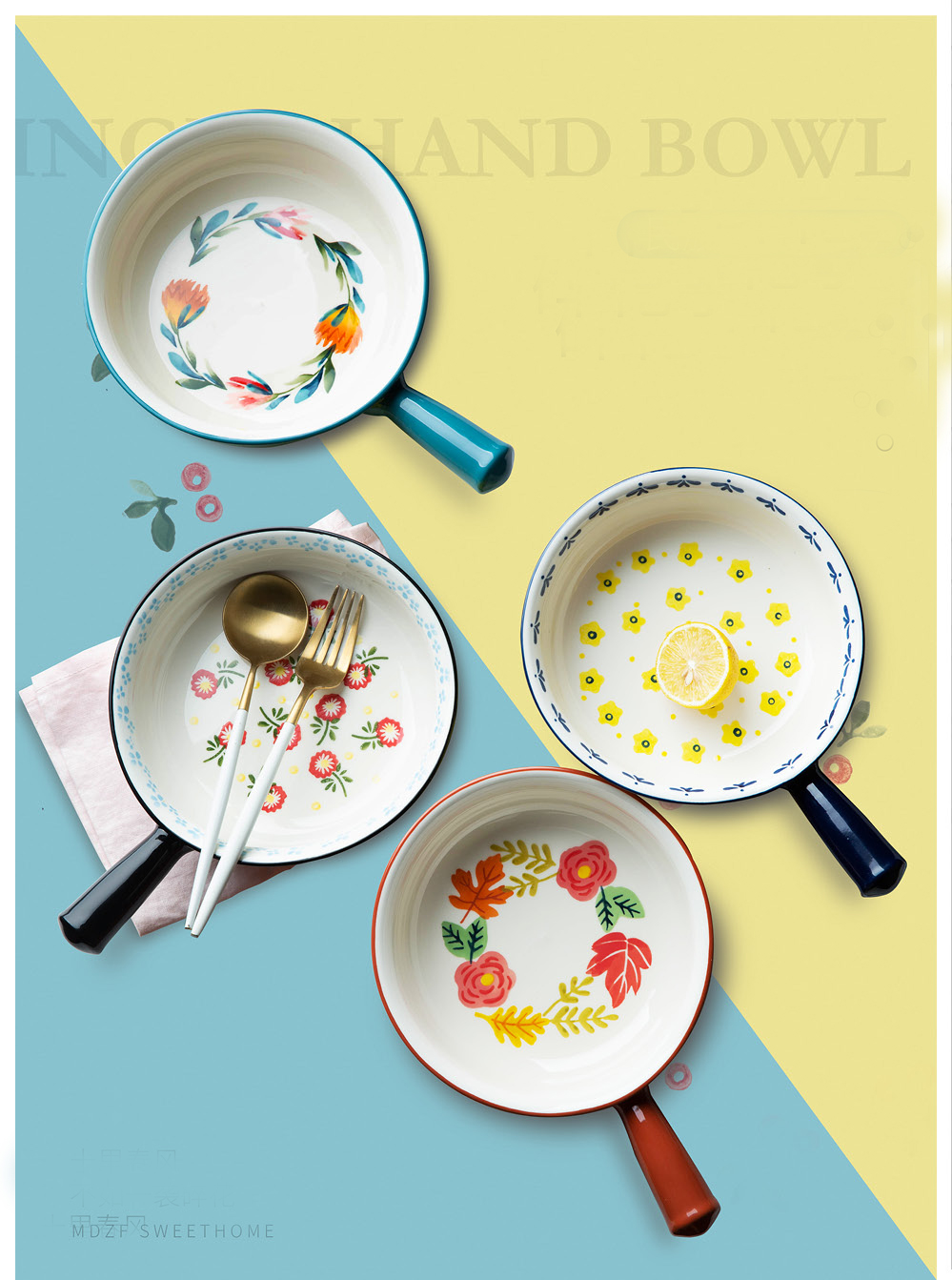 Mdzf Sweethome Ceramic Glaze Baking Bowl With Handle French Onion
