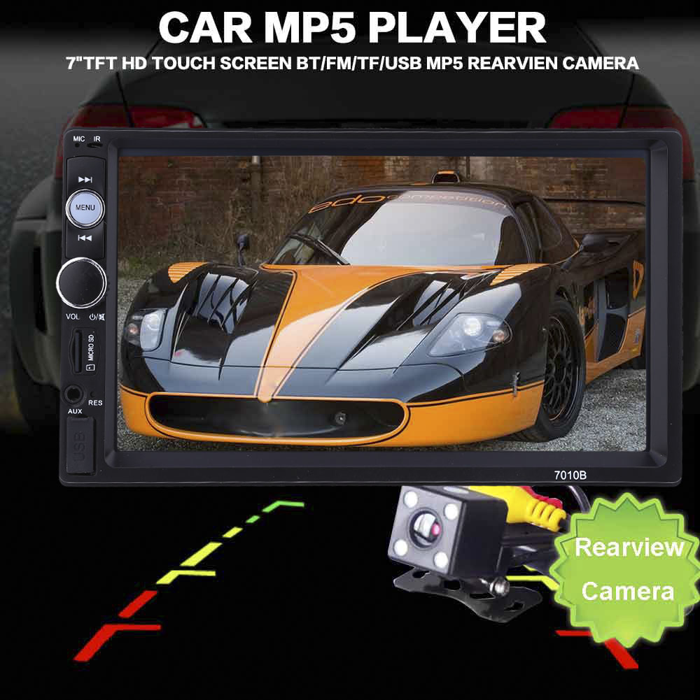 7''TFT HD Touch Screen 2 Din Car MP5 Player+ 120 Degree Rearview Camera Bluetooth Phone Stereo Radio FM/MP3/MP4/Audio/Video/USB