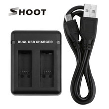 SHOOT Dual Port Slot AHDBT-501 Battery Charger For GoPro Hero 5 Black Camera With USB Cable For Go pro Hero 5 Accessories цена 2017