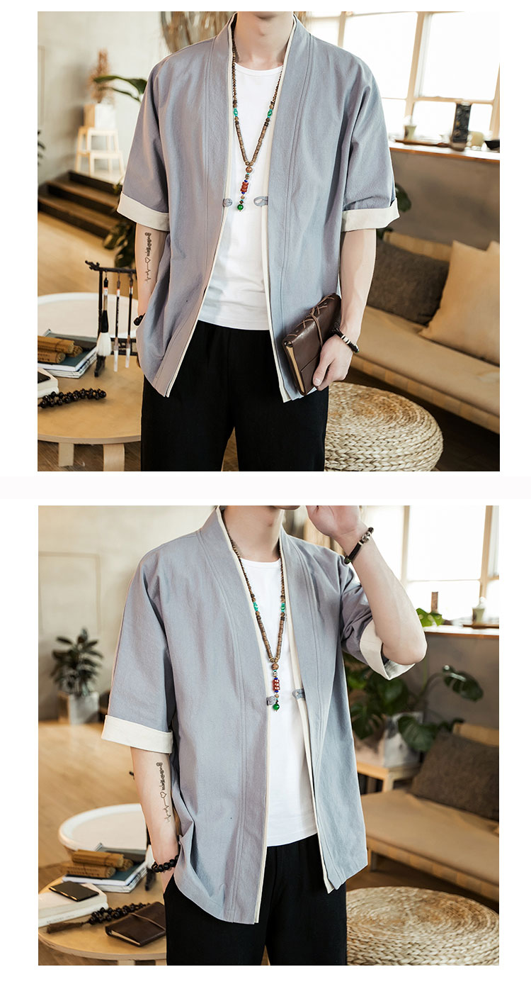 HTB1WGOgtv5TBuNjSspmq6yDRVXa7 2019 Men Cotton Linen Jacket China Style Kongfu Coat Male Loose Kimono Cardigan Overcoat Open Stitch Coat Mens Windbreaker 5XL