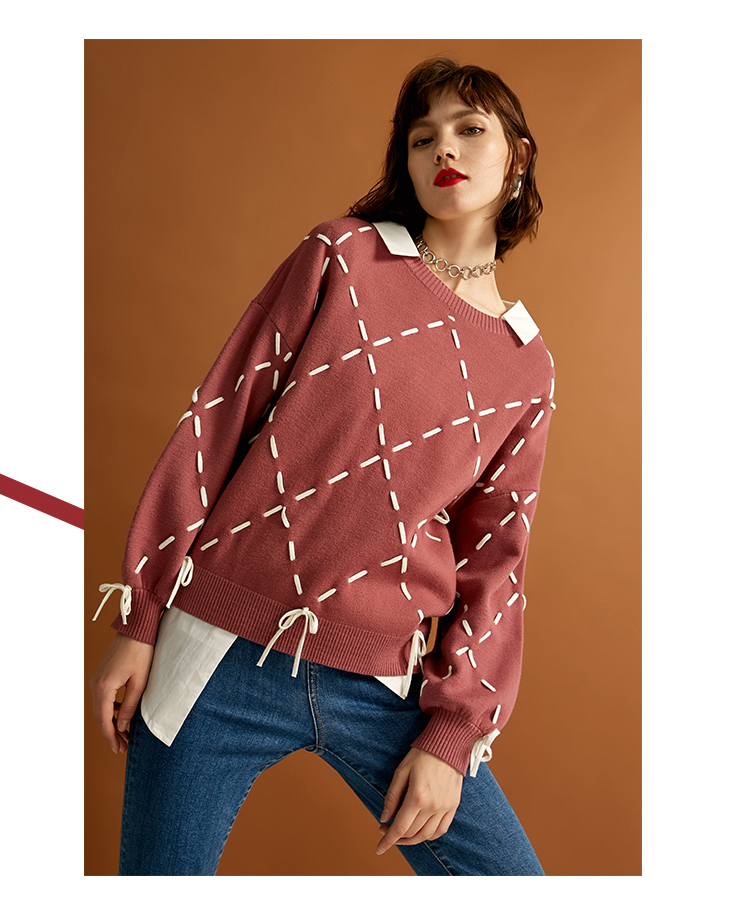 Sexy And Refined Womens Winter Youth New Elegant Loose Rope Lace Knit Sweater Trendy Diamond Lattice Tie-up Classic Design Show 24