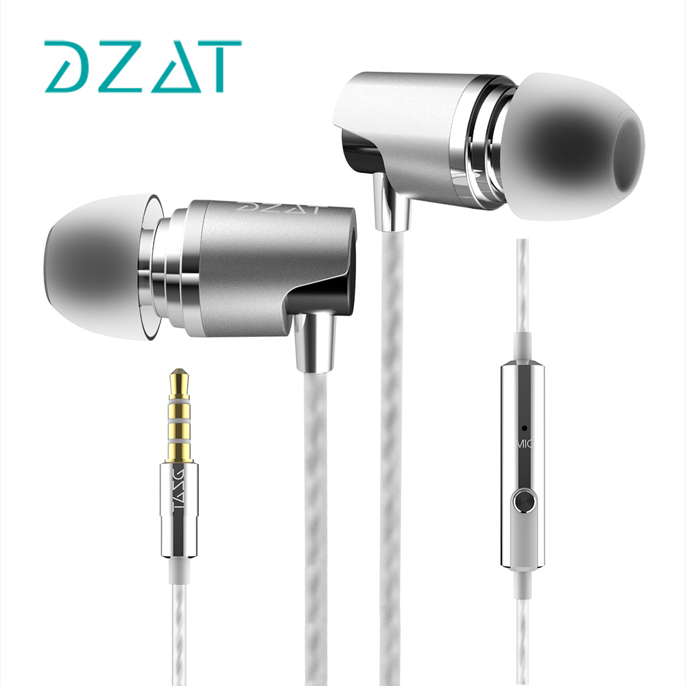 Original DZAT DR-20 Stereo in ear metal earphones super bass earphone HiFi earbuds with microphone for iphone glaupsus gj01 in ear 3 5mm super bass microphone earphones earplug stereo metal hifi in ear earbuds for iphone mobile phone