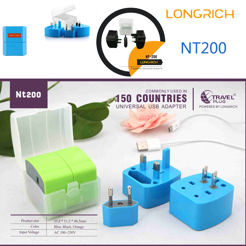 LONGRICH NT200 US/EU/UK Plug 2 Ports Wall  Charger With Nickel Plating Smart Adapter longrich nt 580 universal adapter with dual usb charger worldwide electrical socket us uk eu au international travel plug