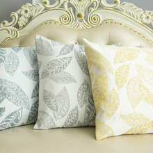 European Elegant Fashion Pillow Case Leaf Pattern Cover For Living Room Decoration Washable Chenille Fabric Cushion