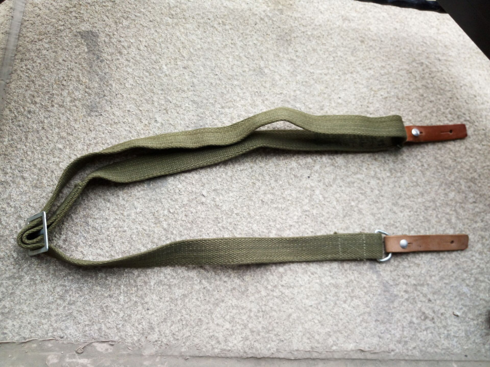 WWII WW2 Chinese Army Type 56 Canvas Outdoor Braces Sling Strap With Two Leather Endings
