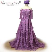 VARBOO_ELSA 3D Flowers Elegant Long Prom Gown Sexy Boat Neck Evening Dress Purple Lace Graduation Dress 2018 Custom High Quality