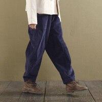 Runback Corduroy Solid Women Pants Pantalon Femme Long Wide Leg Pant 2019 Loose Vintage Casual Elastic Waist Trousers