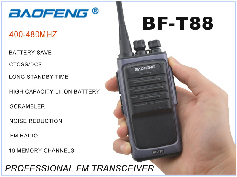 New Arrival August-23-2015 BAOFENG BF-T88 UHF 400-480MHz Professional Portable Two-way Radio