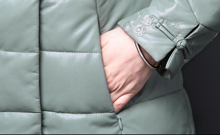 Grande Cuir Parkas Veste Mince Solide Pq176 D'hiver Femmes Rembourré 5xl Long De Taille Nouvelles caranel Dames Col Fourrure Manteau green En purple Coton Xl Pu Black 2017 HHzna