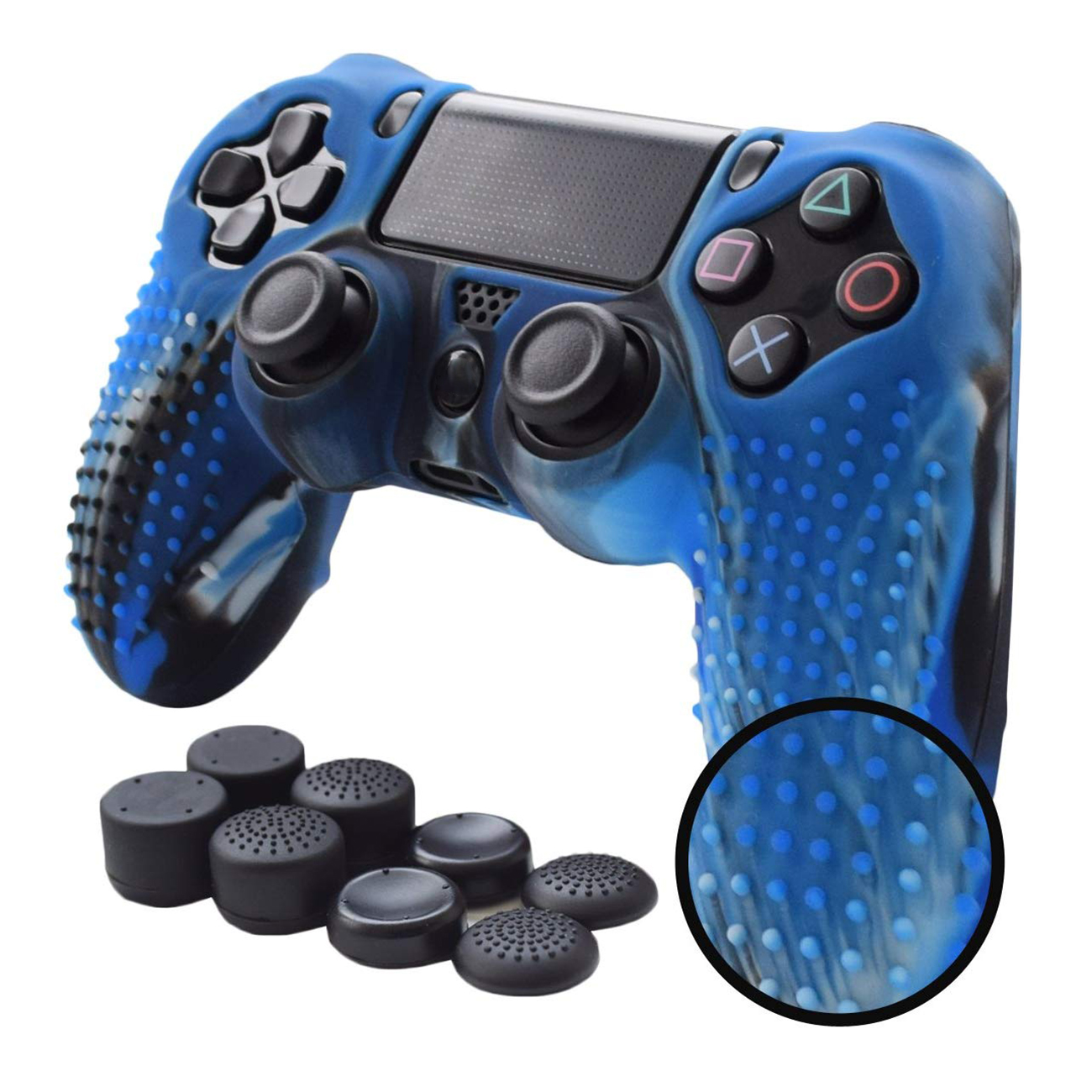 Anti-slip Silicone Cover Skin Grip Compatible for PS4 /SLIM /PRO controller(Camouflage controller skin x 1 + FPS PRO Thumb Gri image