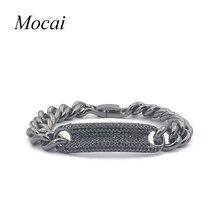 Мода толстая цепь пара панк браслет марка дизайнер micro pave циркон простой черный белый прохладный браслеты zk40