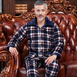 Winter Thick Quilted Men Plaid Pajamas Sets of Sleep Tops & Bottoms Male Flannel Warm Sleepwear Thermal Home Clothing