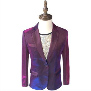 Symphony Gradient Suits Men Blazer Casual Single Breasted Korean Singer Suit Jackets Shiny Stage Singer Costumes Party Blazer