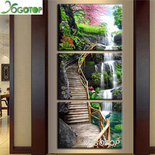 YOGOTOP triptych Diy Diamond embroidery 5d diamond painting full drill mosaic Art Forest Ladder waterfall nature landscape ML763