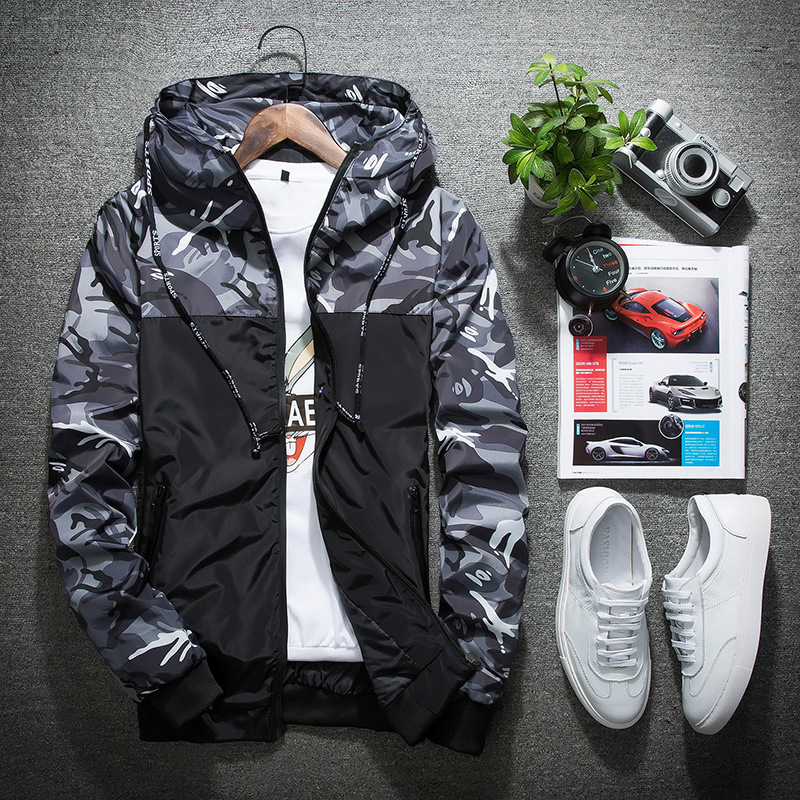 Outdoor Men Running Hooded Jackets New Camouflage Pattern Gym Sports Coats Windproof Soft Shell Outdoors Jogging Sportswear Bape