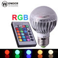 RGB E27 globe bulbs AL high dissipation led lamp AC86-265V spotlights 16 changeable colors 24keys remote controller rgb lighting
