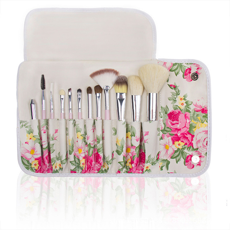 12Pcs Eyeshadow Cosmetic Makeup Brushes Sets Powder Eye shadow Make up Tools With Foldable Holder Floral Bag Pincel maquiagem 8pcs rose gold makeup brushes eye shadow powder blush foundation brush 2pc sponge puff make up brushes pincel maquiagem cosmetic