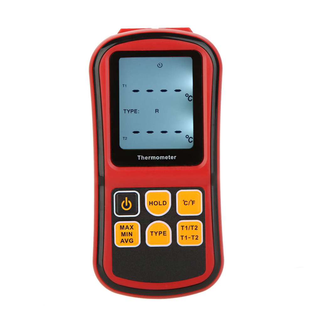 Digital Thermometer Dual-channel Temperature Meter Tester for K/J/T/E/R/S/N Thermocouple with LCD Backlight