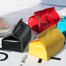 Ins Simple Style Leather Tissue Box Creativie Facial Paper Box Table & Car PU Napkin Holder Paper Tissue Case Colors available